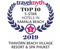 Award Top10 5 Star Hotels in Kamala Beach Travelmyth Awards for Thavorn Beach Village Resort and Apa Phuket 2019